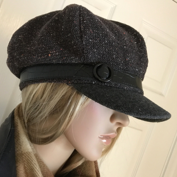 6628467e38d NINE WEST Charcoal Gray Speckled Newsboy Cabby Hat.  M 5bac67c1d6dc52af403859be